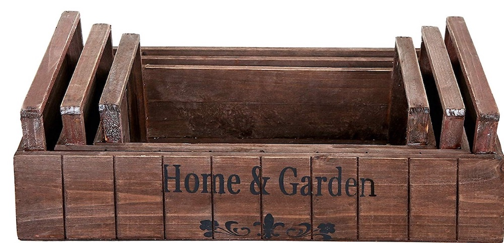 17 Farmhouse Crates for an Orderly Home Rustic Style Nestling Wood Planter Crate Set #WoodCrates #Farmhouse #FarmhouseDecor #FarmhouseCrates #RusticDecor #Storage #Organization #OrganizedHome #IndustrialDecor
