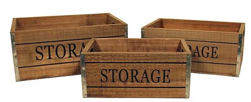 17 Farmhouse Crates for an Orderly Home Wooden Storage Label Crate Set #WoodCrates #Farmhouse #FarmhouseDecor #FarmhouseCrates #RusticDecor #Storage #Organization #OrganizedHome #IndustrialDecor