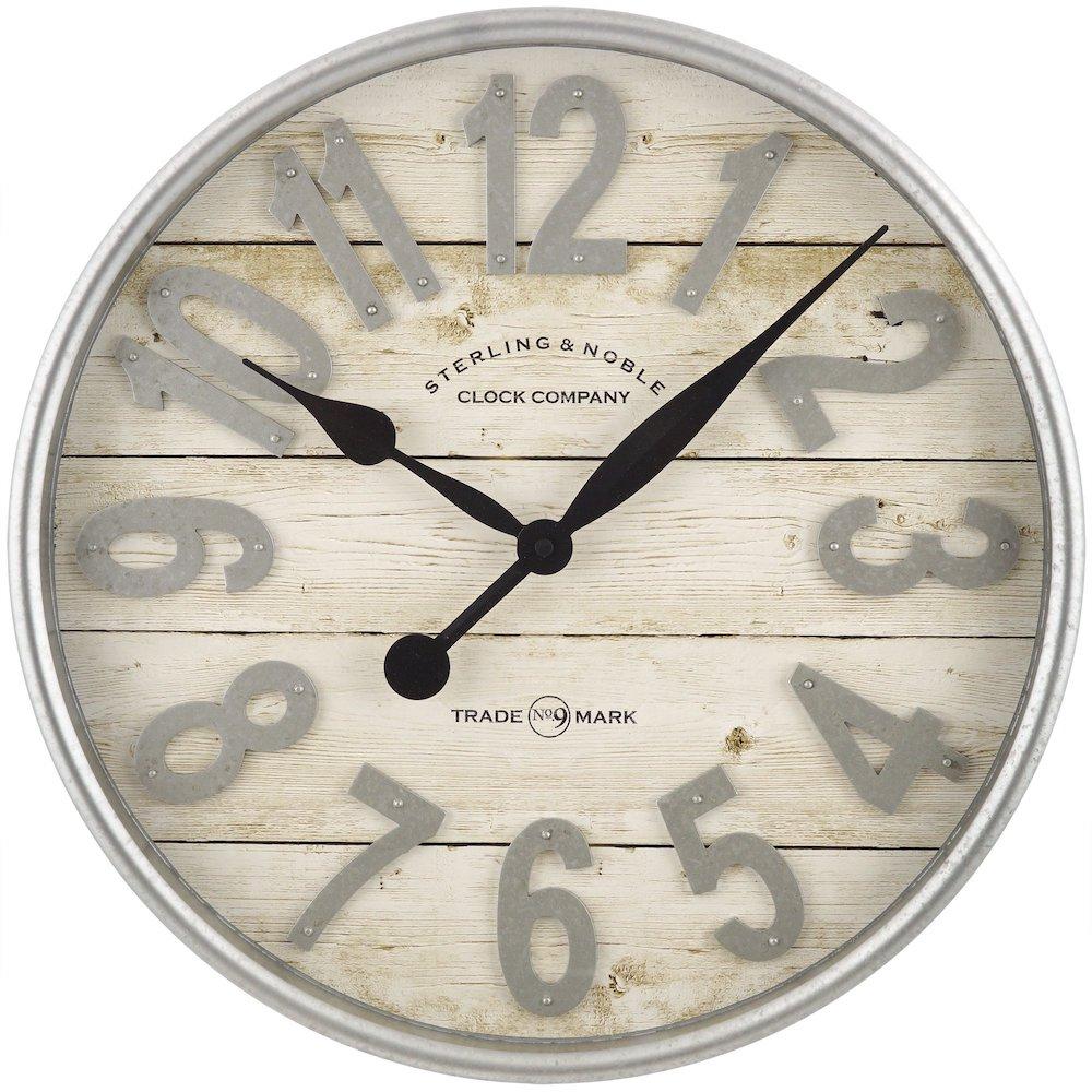 27 Simple, Affordable Farmhouse Decor Farmhouse Plank Wall Clock with Galvanized Finish #Farmhouse #FarmhouseDecor #AffordableFarmhouse #RusticDecor #IndustrialDecor #FarmLife #CountryLife #CountryDecor #SimpleFarmhouseDecor