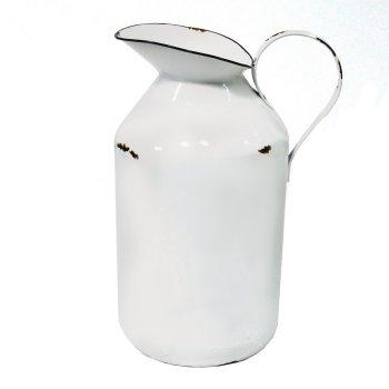 27 Simple, Affordable Farmhouse Decor White Enamel Milk Jug Vase #Farmhouse #FarmhouseDecor #AffordableFarmhouse #RusticDecor #IndustrialDecor #FarmLife #CountryLife #CountryDecor #SimpleFarmhouseDecor