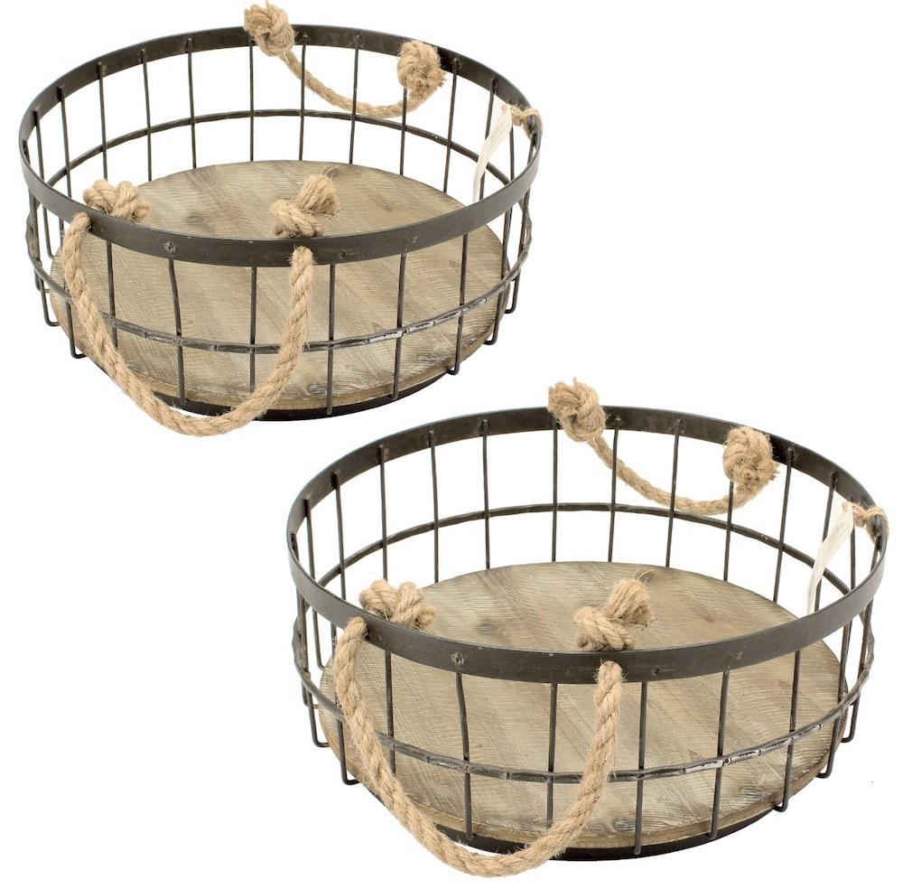 30 Farmhouse Storage Bins, Canisters, and Baskets Coastal Wire And Wood Baskets #Farmhouse #FarmhouseDecor #FarmhouseStorage #RusticStorage #CountryLiving #IndustrialStorage #Organization #Storage