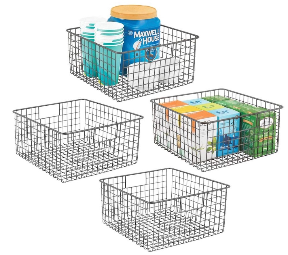 30 Farmhouse Storage Bins, Canisters, and Baskets Farmhouse Decor Metal Wire Food Storage Organizer #Farmhouse #FarmhouseDecor #FarmhouseStorage #RusticStorage #CountryLiving #IndustrialStorage #Organization #Storage
