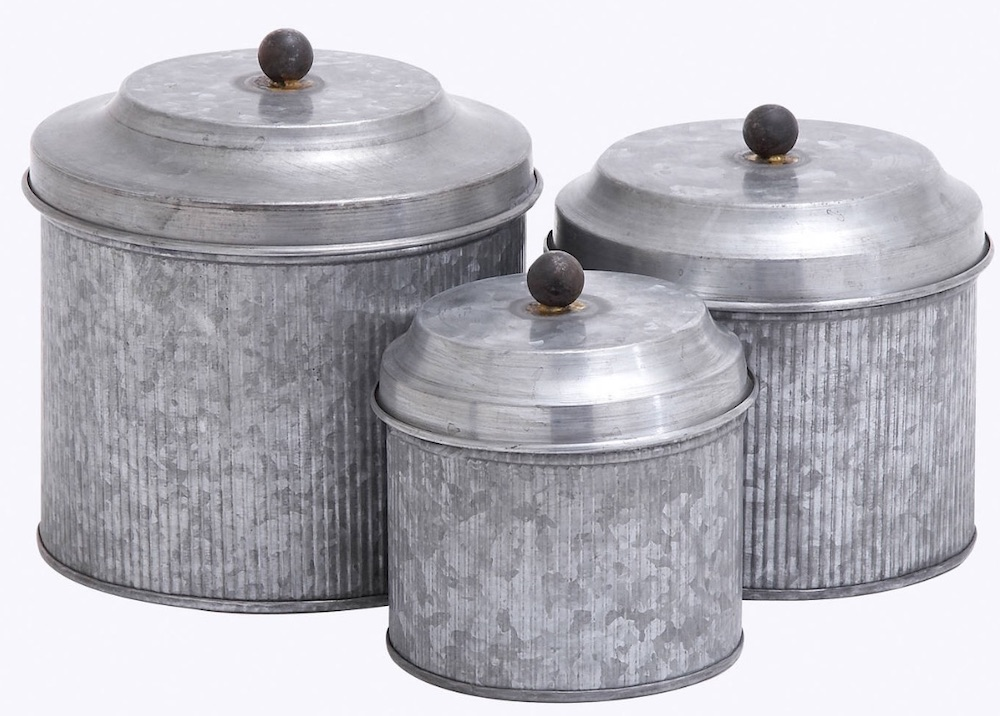 30 Farmhouse Storage Bins, Canisters, and Baskets Galvanized Metal Canister Set #Farmhouse #FarmhouseDecor #FarmhouseStorage #RusticStorage #CountryLiving #IndustrialStorage #Organization #Storage