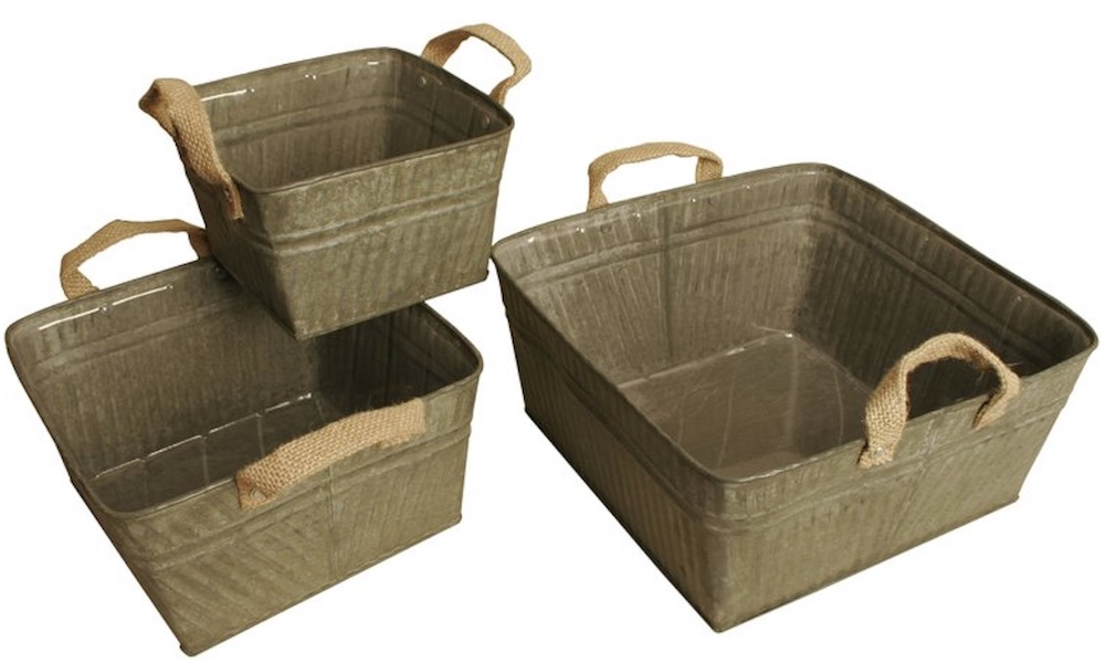 30 Farmhouse Storage Bins, Canisters, and Baskets Galvanized Metal Square Set #Farmhouse #FarmhouseDecor #FarmhouseStorage #RusticStorage #CountryLiving #IndustrialStorage #Organization #Storage