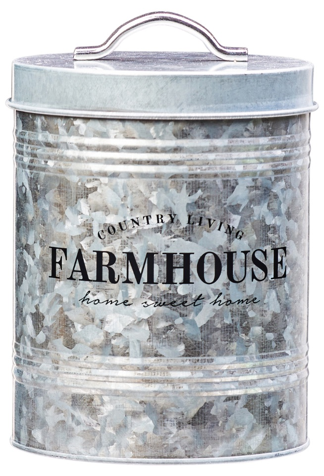 30 Farmhouse Storage Bins, Canisters, and Baskets Galvanized Metal Storage Canister #Farmhouse #FarmhouseDecor #FarmhouseStorage #RusticStorage #CountryLiving #IndustrialStorage #Organization #Storage