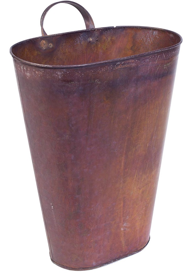 30 Farmhouse Storage Bins, Canisters, and Baskets Rusted Galvanized Metal Floor:Hanging Bucket #Farmhouse #FarmhouseDecor #FarmhouseStorage #RusticStorage #CountryLiving #IndustrialStorage #Organization #Storage