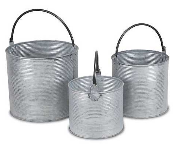 30 Farmhouse Storage Bins, Canisters, and Baskets Silver Ribbed Buckets With Handles #Farmhouse #FarmhouseDecor #FarmhouseStorage #RusticStorage #CountryLiving #IndustrialStorage #Organization #Storage