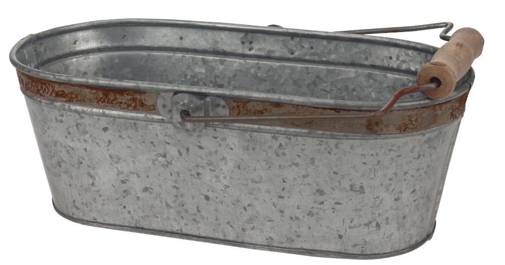 30 Farmhouse Storage Bins, Canisters, and Baskets Galvanized Metal Oval Bucket #Farmhouse #FarmhouseDecor #FarmhouseStorage #RusticStorage #CountryLiving #IndustrialStorage #Organization #Storage