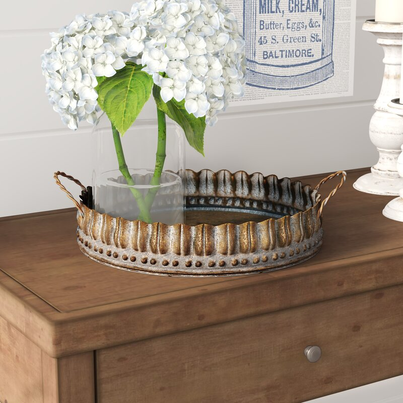 15 Farmhouse Trays for Every Budget Cambria Metal Accent Tray #Farmhouse #FarmhouseDecor #FarmhouseTrays #RusticDecor #Patio #OutdoorSpaces #OutdoorLiving #IndoorLiving #Entertaining