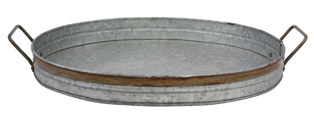15 Farmhouse Trays for Every Budget Oval Galvanized Metal Tray Rust Trim #Farmhouse #FarmhouseDecor #FarmhouseTrays #RusticDecor #Patio #OutdoorSpaces #OutdoorLiving #IndoorLiving #Entertaining