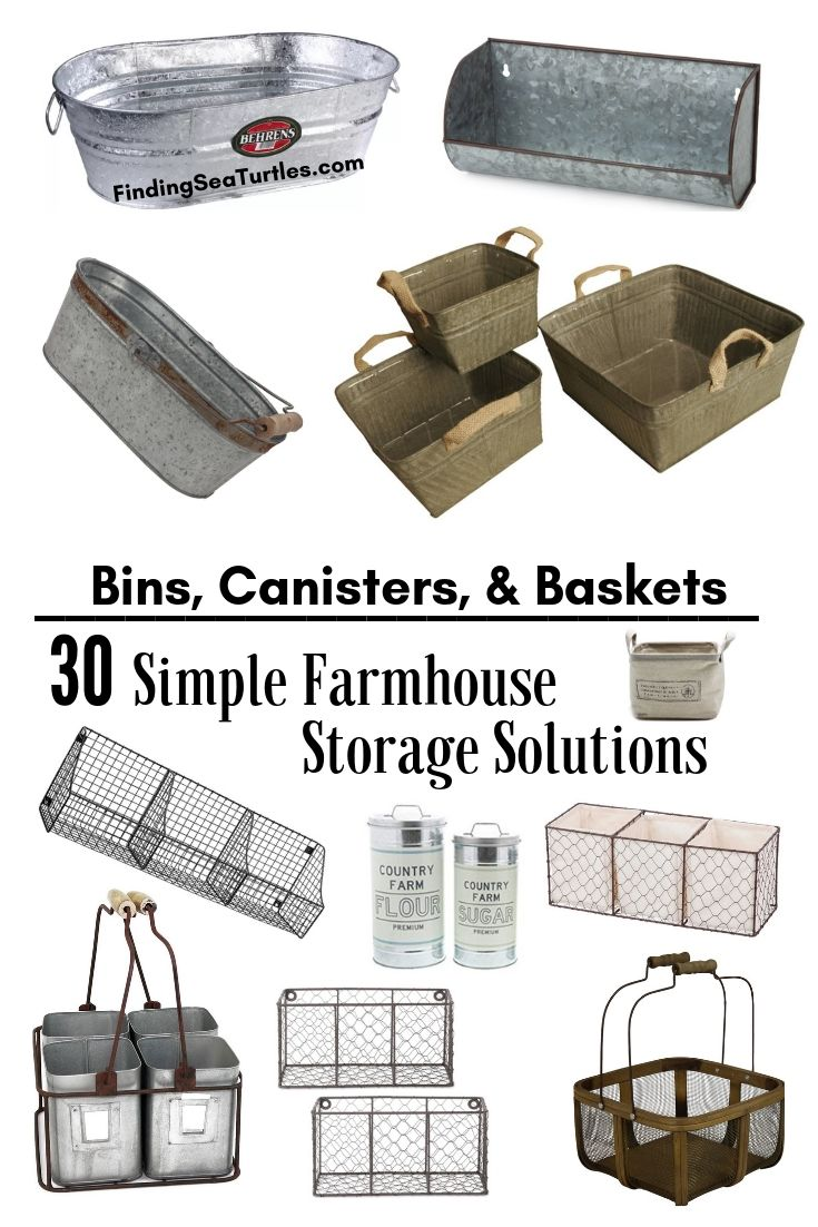 Bins Canisters Baskets 30 Simple Farmhouse Storage Solutions #Farmhouse #FarmhouseDecor #FarmhouseStorage #RusticStorage #CountryLiving #IndustrialStorage #Organization #Storage