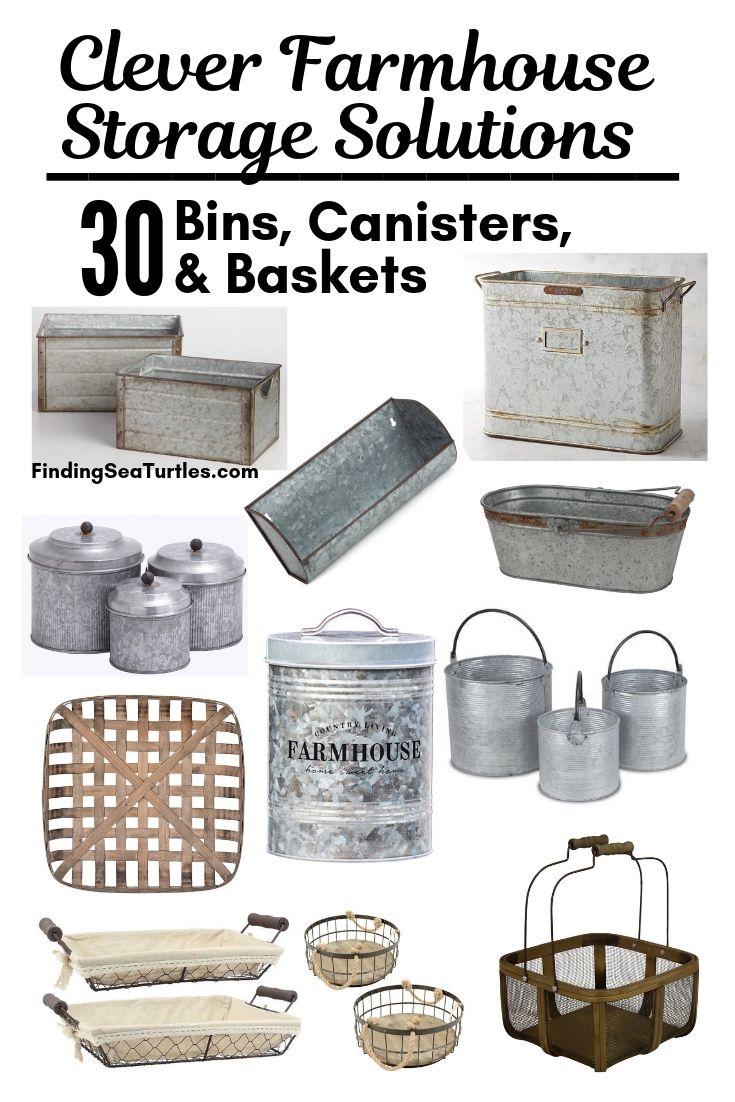 Clever Farmhouse Storage Solutions 30 Bins Canisters Baskets #Farmhouse #FarmhouseDecor #FarmhouseStorage #RusticStorage #CountryLiving #IndustrialStorage #Organization #Storage