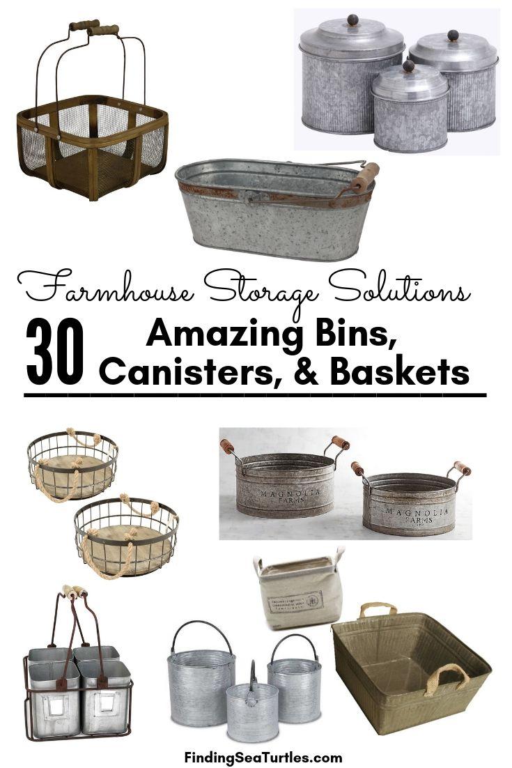 Farmhouse Storage Solutions 30 Amazing Bins Canisters Baskets #Farmhouse #FarmhouseDecor #FarmhouseStorage #RusticStorage #CountryLiving #IndustrialStorage #Organization #Storage
