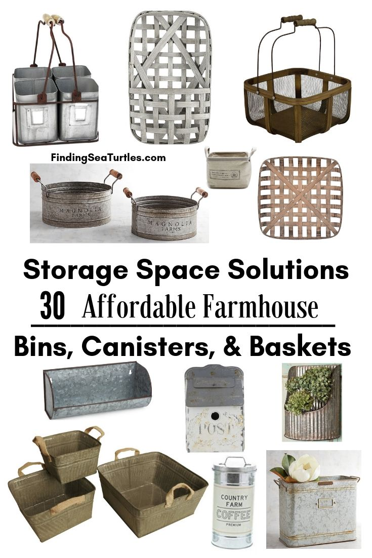Storage Space Solutions 30 Affordable Farmhouse Bins Canisters Baskets #Farmhouse #FarmhouseDecor #FarmhouseStorage #RusticStorage #CountryLiving #IndustrialStorage #Organization #Storage