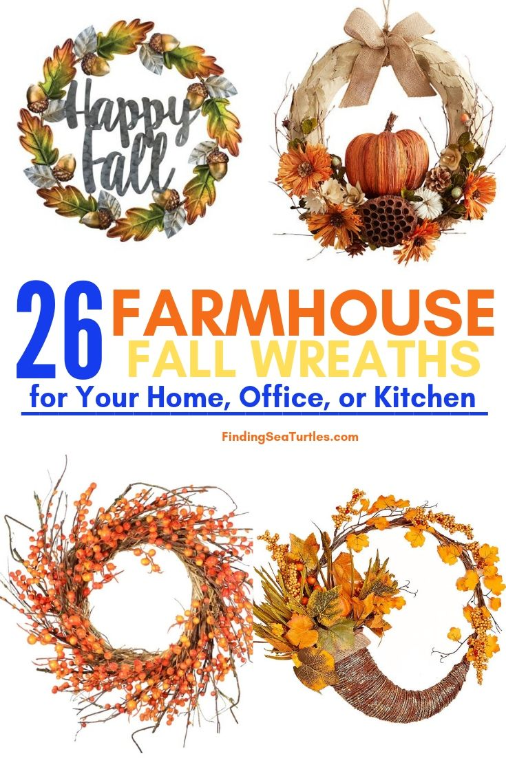 26 FARMHOUSE FALL WREATHS For Your Home Office Or Kitchen #Farmhouse #FarmhouseDecor #FarmhouseWreaths #RusticWreaths #CountryLiving #FallWreaths #AutumnWreaths