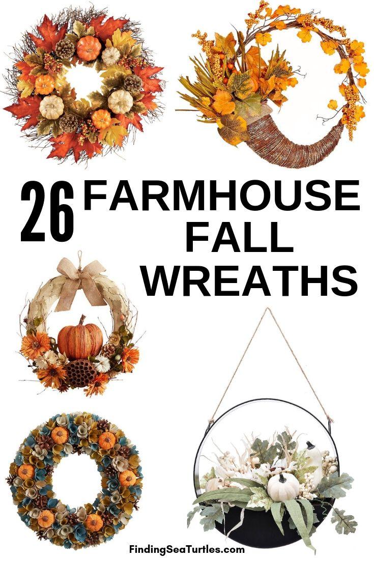 26 FARMHOUSE FALL WREATHS #Farmhouse #FarmhouseDecor #FarmhouseWreaths #RusticWreaths #CountryLiving #FallWreaths #AutumnWreaths
