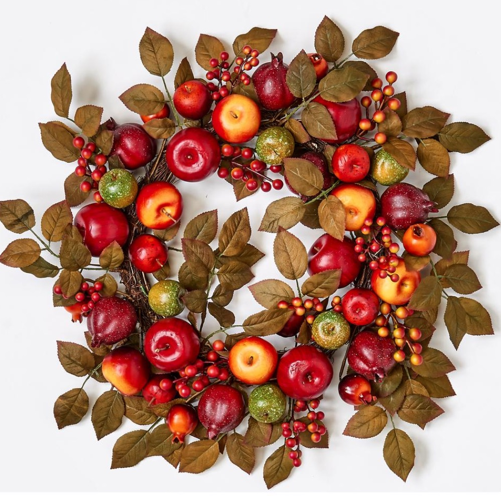 Farmhouse Fall Wreaths to Welcome Guests Apple Pomegranate And Leaf Wreath #Farmhouse #FarmhouseDecor #FarmhouseWreaths #RusticWreaths #CountryLiving #FallWreaths #AutumnWreaths