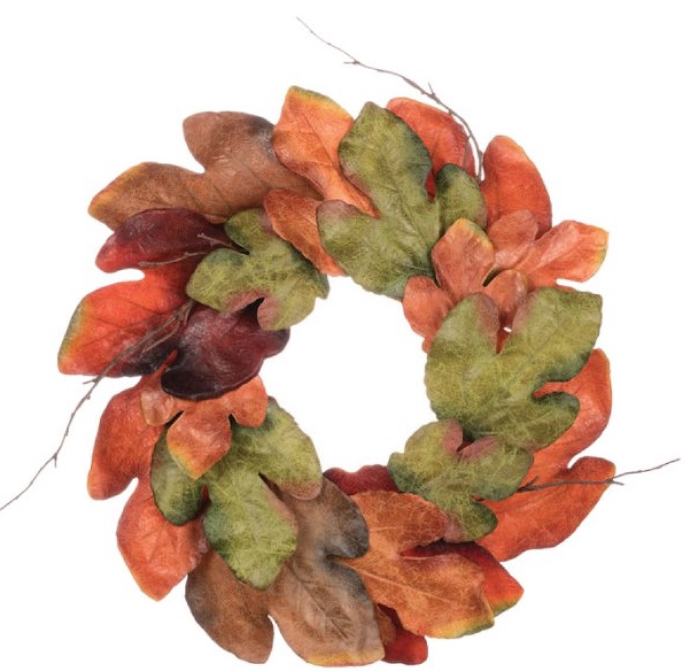 Farmhouse Fall Wreaths to Welcome Guests Autumn Large Leaf Accent Ring #Farmhouse #FarmhouseDecor #FarmhouseWreaths #RusticWreaths #CountryLiving #FallWreaths #AutumnWreaths