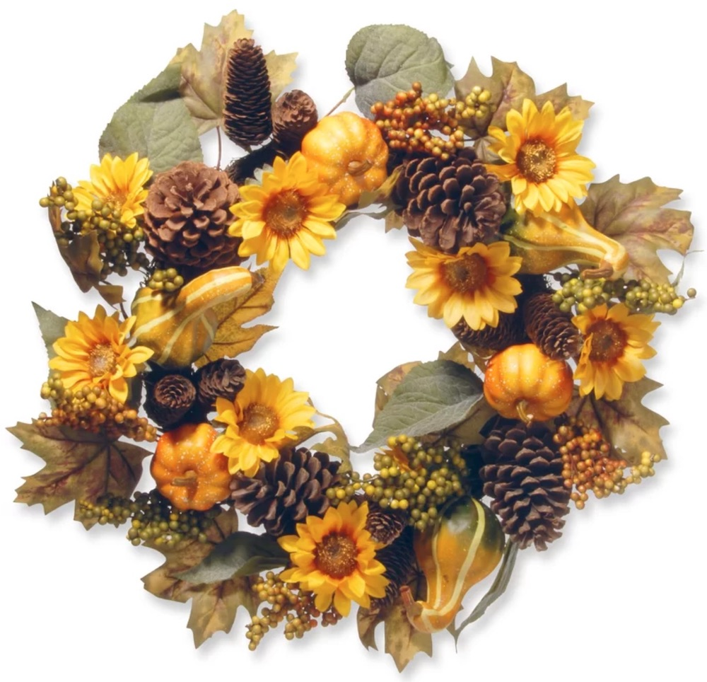 Farmhouse Fall Wreaths to Welcome Guests Autumn Sunflower Wreath #Farmhouse #FarmhouseDecor #FarmhouseWreaths #RusticWreaths #CountryLiving #FallWreaths #AutumnWreaths
