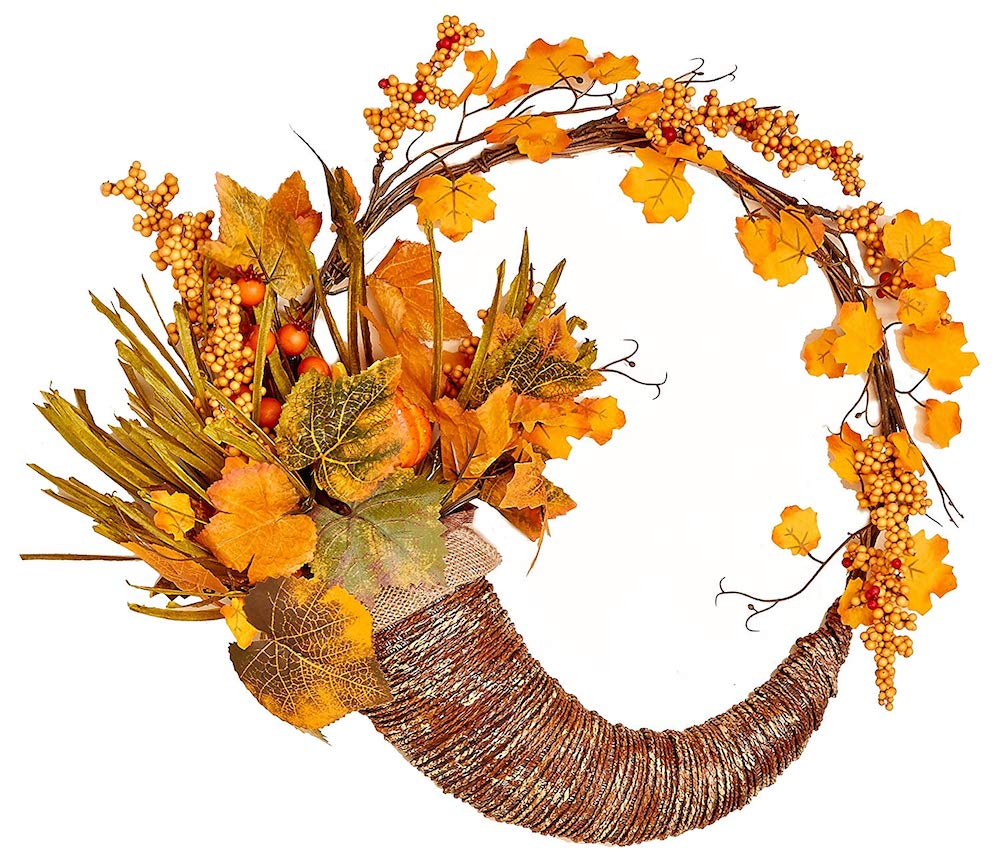 Farmhouse Fall Wreaths to Welcome Guests Cornucopia Wreath #Farmhouse #FarmhouseDecor #FarmhouseWreaths #RusticWreaths #CountryLiving #FallWreaths #AutumnWreaths
