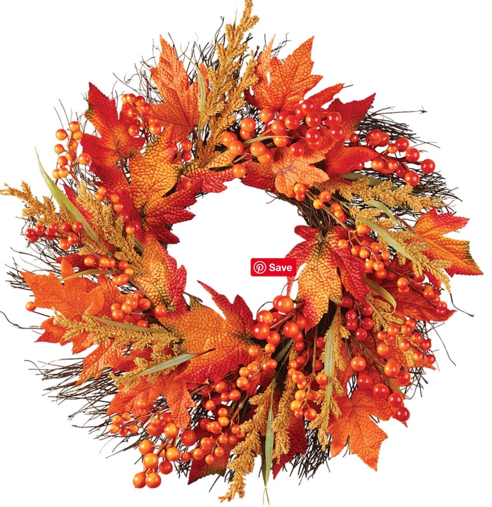Farmhouse Fall Wreaths to Welcome Guests Faux Fall Leaves And Berry Wreath #Farmhouse #FarmhouseDecor #FarmhouseWreaths #RusticWreaths #CountryLiving #FallWreaths #AutumnWreaths