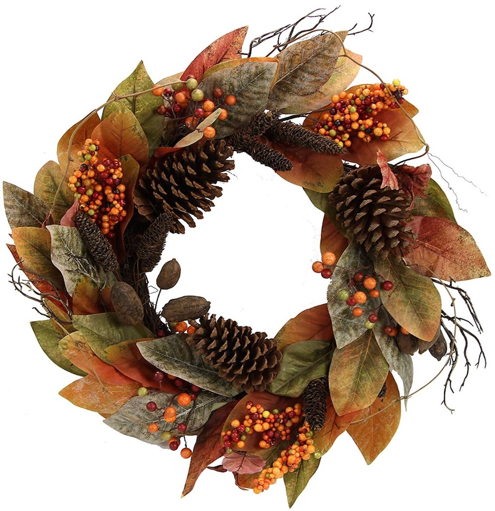26 Farmhouse Fall Wreaths to Welcome Guests Faux Magnolia Leaf Vine Pinecones Berry Wreath #Farmhouse #FarmhouseDecor #FarmhouseWreaths #RusticWreaths #CountryLiving #FallWreaths #AutumnWreaths