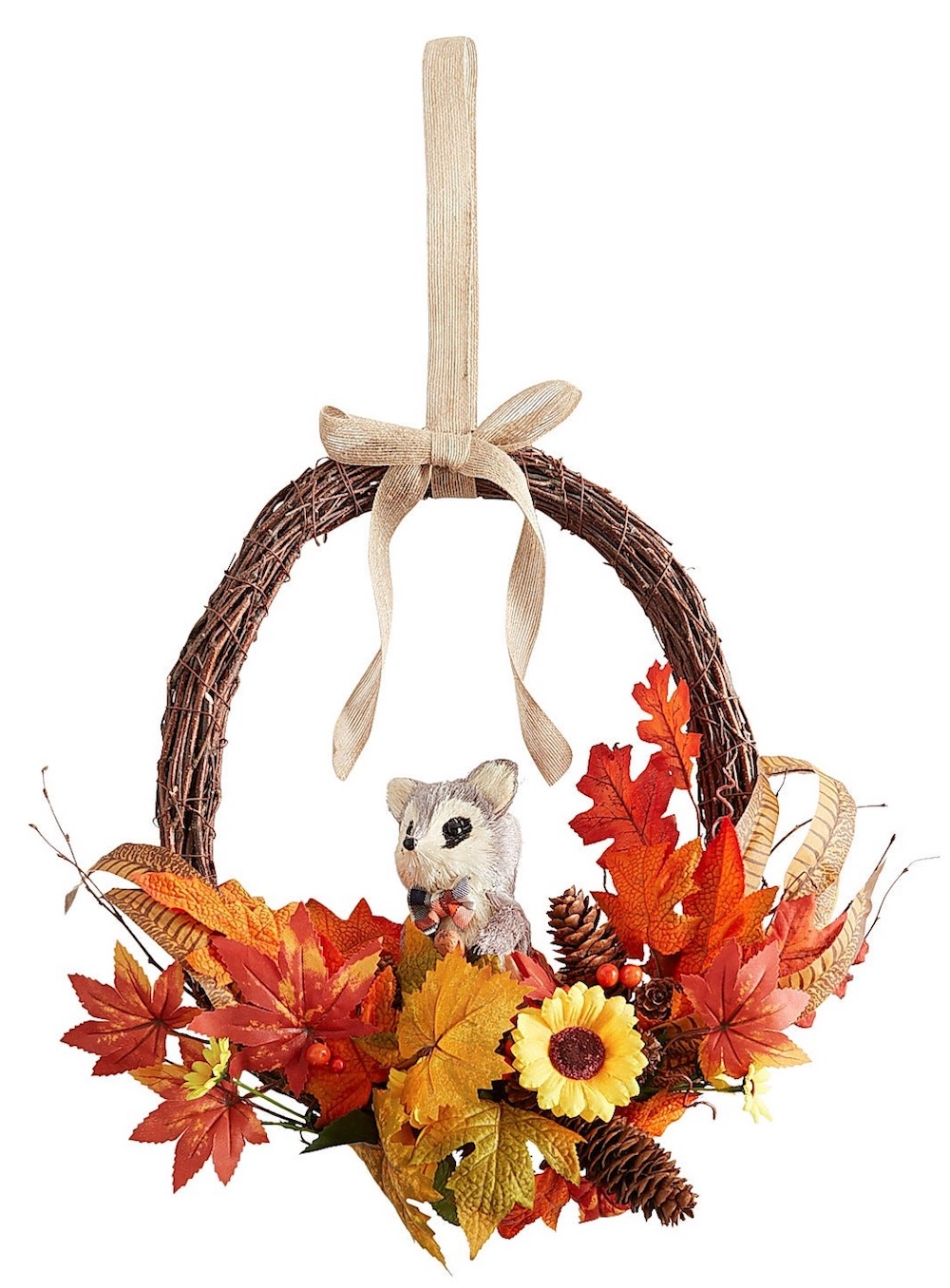 Farmhouse Fall Wreaths to Welcome Guests Faux Mini Wreath With Raccoon #Farmhouse #FarmhouseDecor #FarmhouseWreaths #RusticWreaths #CountryLiving #FallWreaths #AutumnWreaths