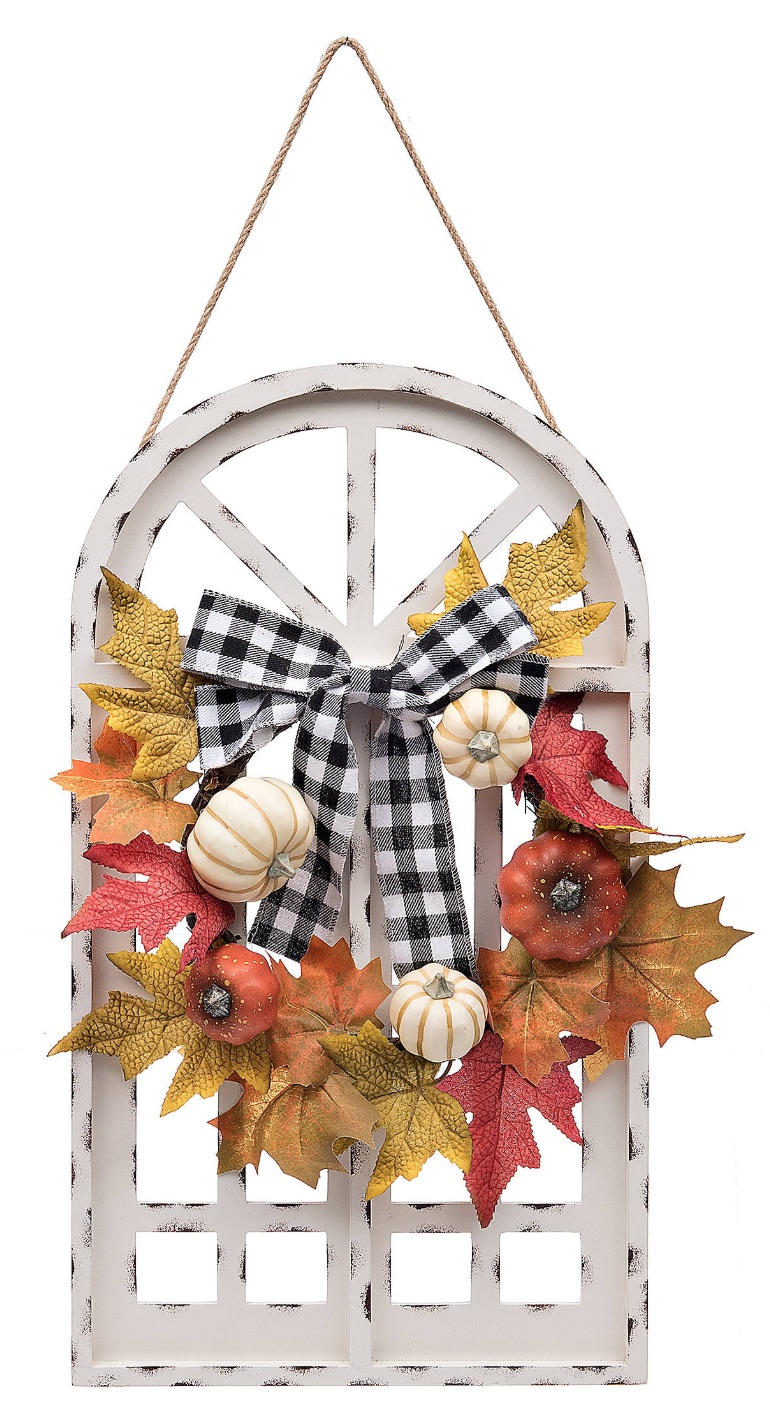 Farmhouse Fall Wreaths to Welcome Guests Harvest Wreath Over Distressed White Window Plaque #Farmhouse #FarmhouseDecor #FarmhouseWreaths #RusticWreaths #CountryLiving #FallWreaths #AutumnWreaths