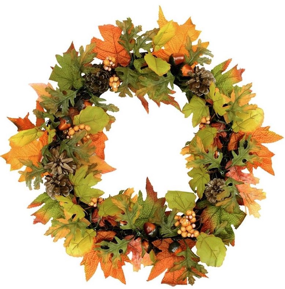 Farmhouse Fall Wreaths to Welcome Guests Leaf Thanksgiving Wreath #Farmhouse #FarmhouseDecor #FarmhouseWreaths #RusticWreaths #CountryLiving #FallWreaths #AutumnWreaths