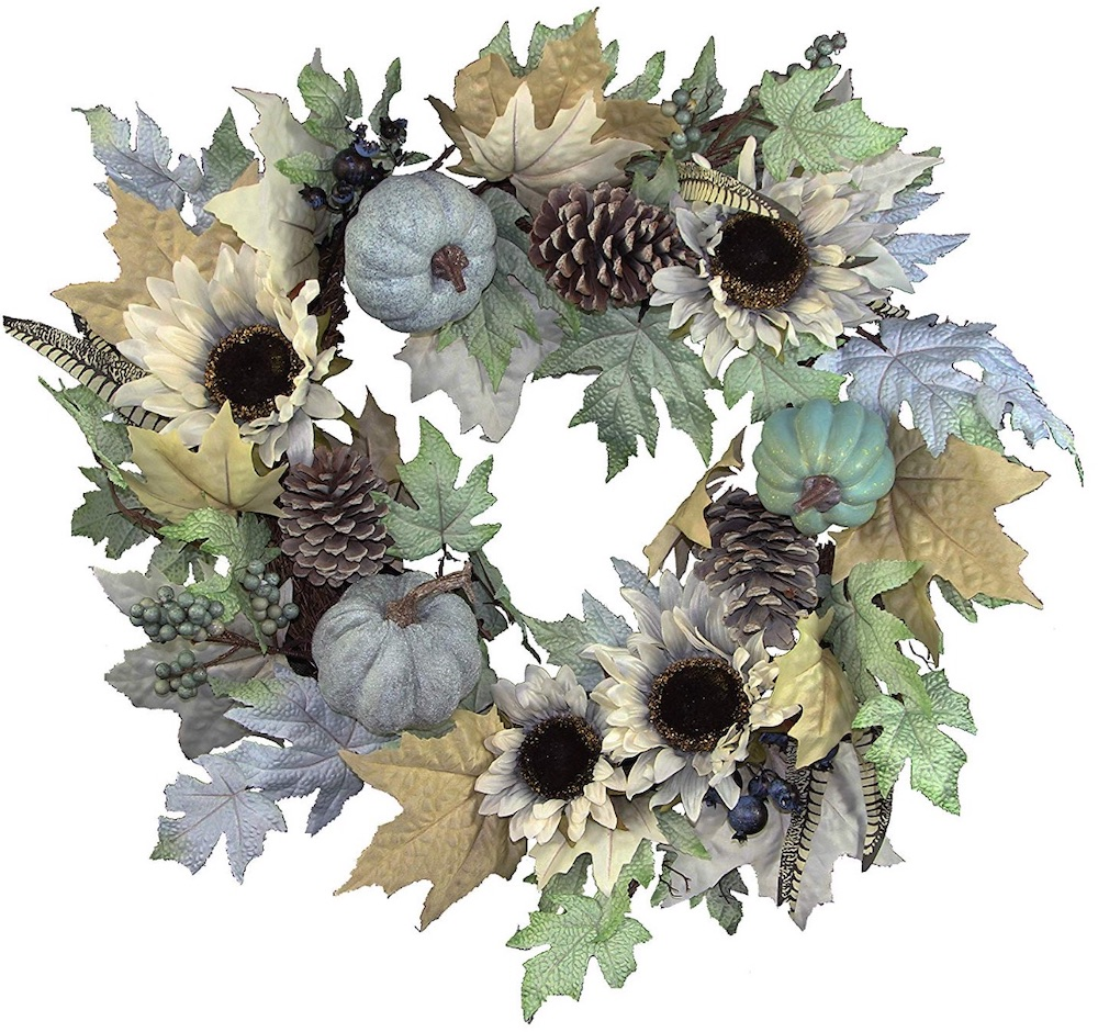 Farmhouse Fall Wreaths to Welcome Guests Rustic Sunflower Pumpkin Wreath #Farmhouse #FarmhouseDecor #FarmhouseWreaths #RusticWreaths #CountryLiving #FallWreaths #AutumnWreaths