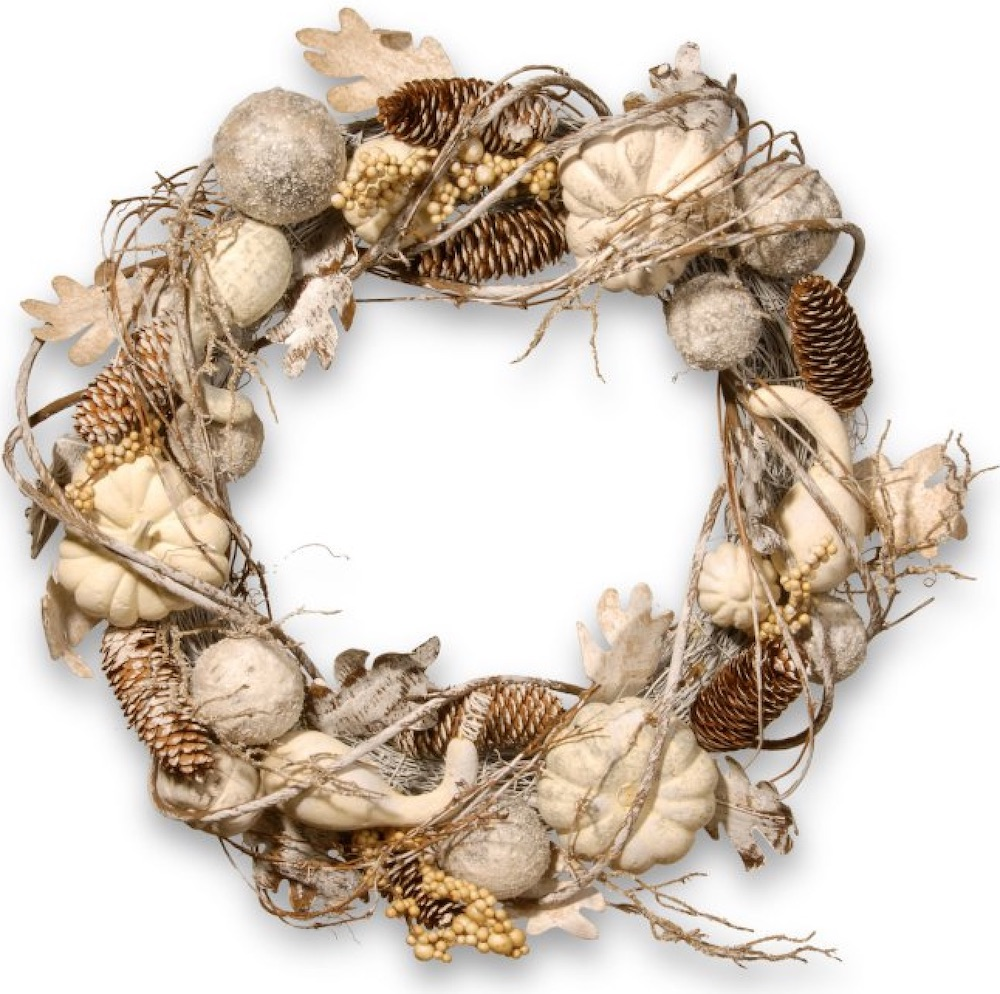 Farmhouse Fall Wreaths to Welcome Guests White Pumpkin Wreath #Farmhouse #FarmhouseDecor #FarmhouseWreaths #RusticWreaths #CountryLiving #FallWreaths #AutumnWreaths