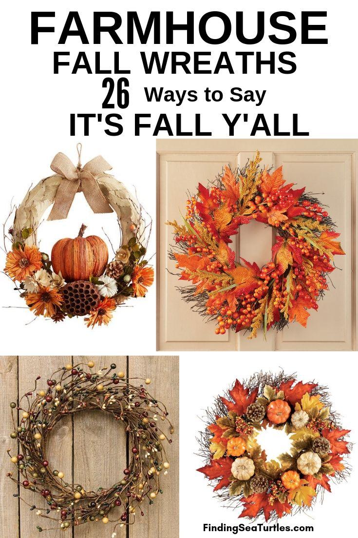FARMHOUSE FALL WREATHS 26 Ways To Say IT'S FALL Y'ALL #Farmhouse #FarmhouseDecor #FarmhouseWreaths #RusticWreaths #CountryLiving #FallWreaths #AutumnWreaths