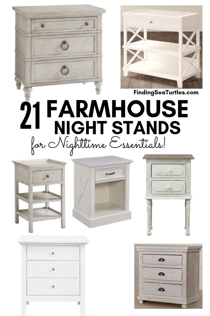 21 FARMHOUSE NIGHT STANDS For Nighttime Essentials! #Farmhouse #NightStands #FarmhouseNightstands #RusticDecor #CountryDecor #FarmhouseDecor #VintageInspired #BedsideTables