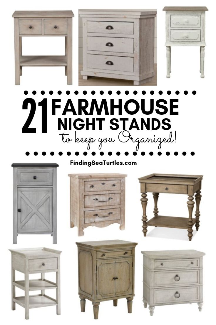 21 FARMHOUSE NIGHT STANDS To Keep You Organized! #Farmhouse #NightStands #FarmhouseNightstands #RusticDecor #CountryDecor #FarmhouseDecor #VintageInspired #BedsideTables