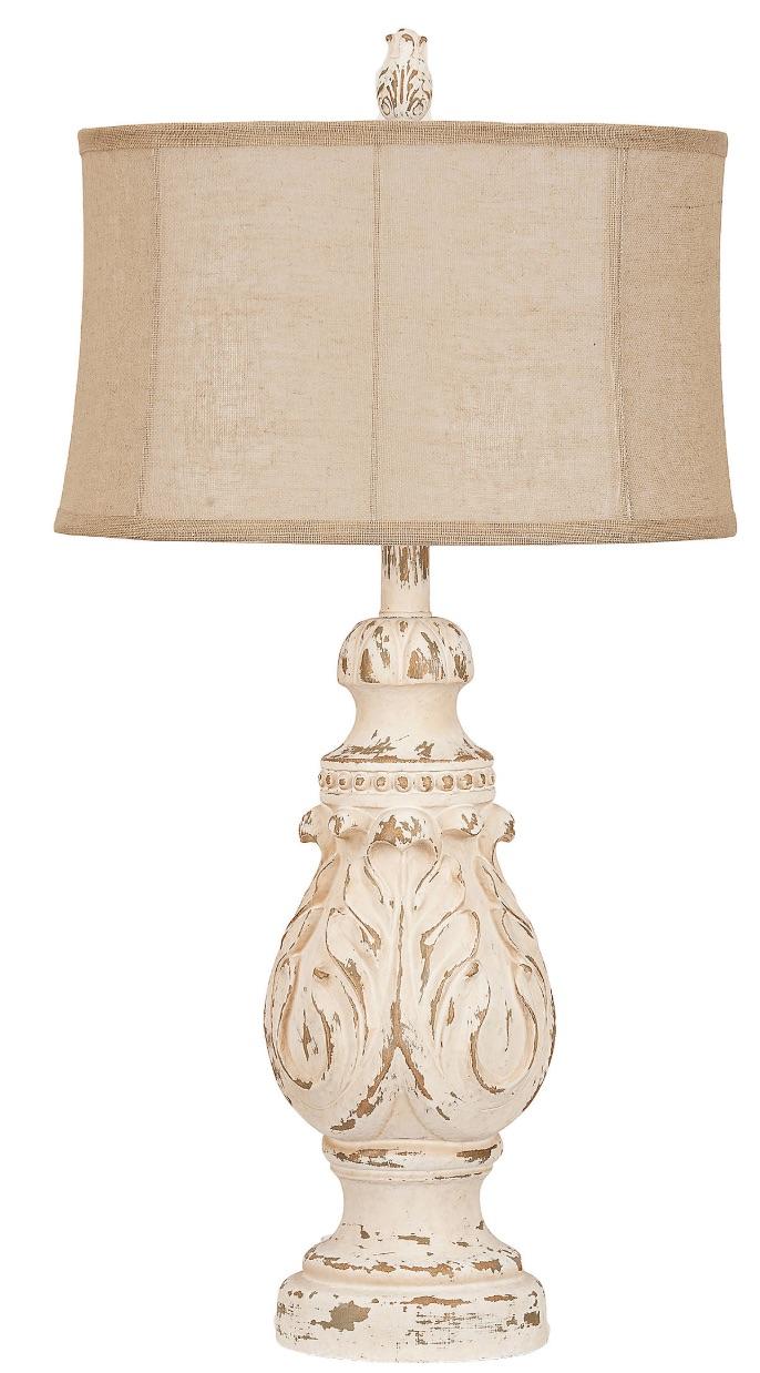 33 Simple Farmhouse Table Lamps Caroline Distressed Cream Table Lamp #Farmhouse #FarmhouseTableLamps #FarmhouseLighting #RusticDecor #CountryDecor #FarmhouseDecor