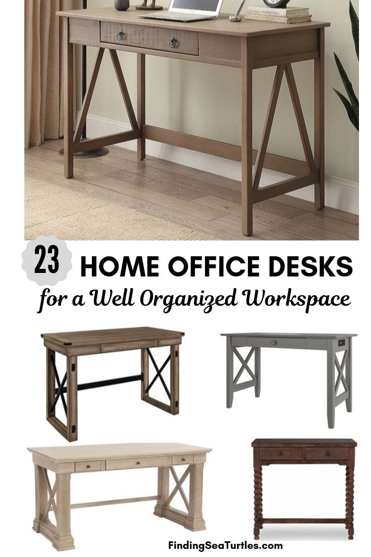 23 HOME OFFICE DESK for a Well Organized Workspace #Desks #HomeOffice #HomeOfficeDesks #Farmhouse #Decor #VintageDecor #FarmhouseDecor #IndustrialDecor #WorkingMoms #WorkFromHome