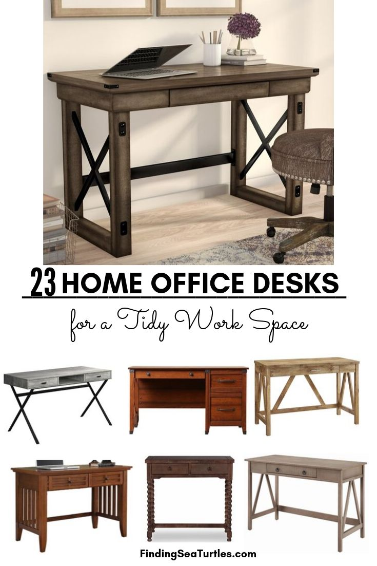 23 Home office desks for a Tidy Work Space #Desks #HomeOffice #HomeOfficeDesks #Farmhouse #Decor #VintageDecor #FarmhouseDecor #IndustrialDecor #WorkingMoms #WorkFromHome