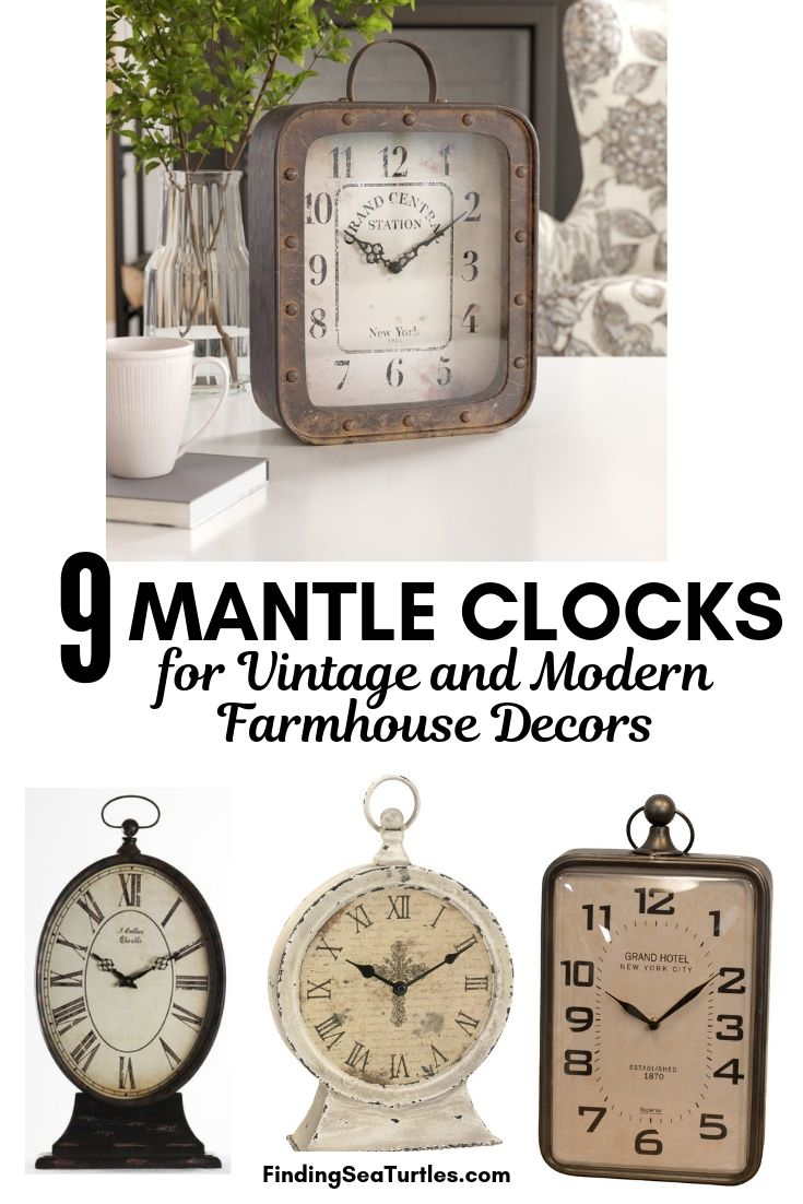 9 MANTLE CLOCKS For Vintage And Modern Farmhouse Decors #Clocks #MantleClocks #Timepiece #TableTopDecor #Decor