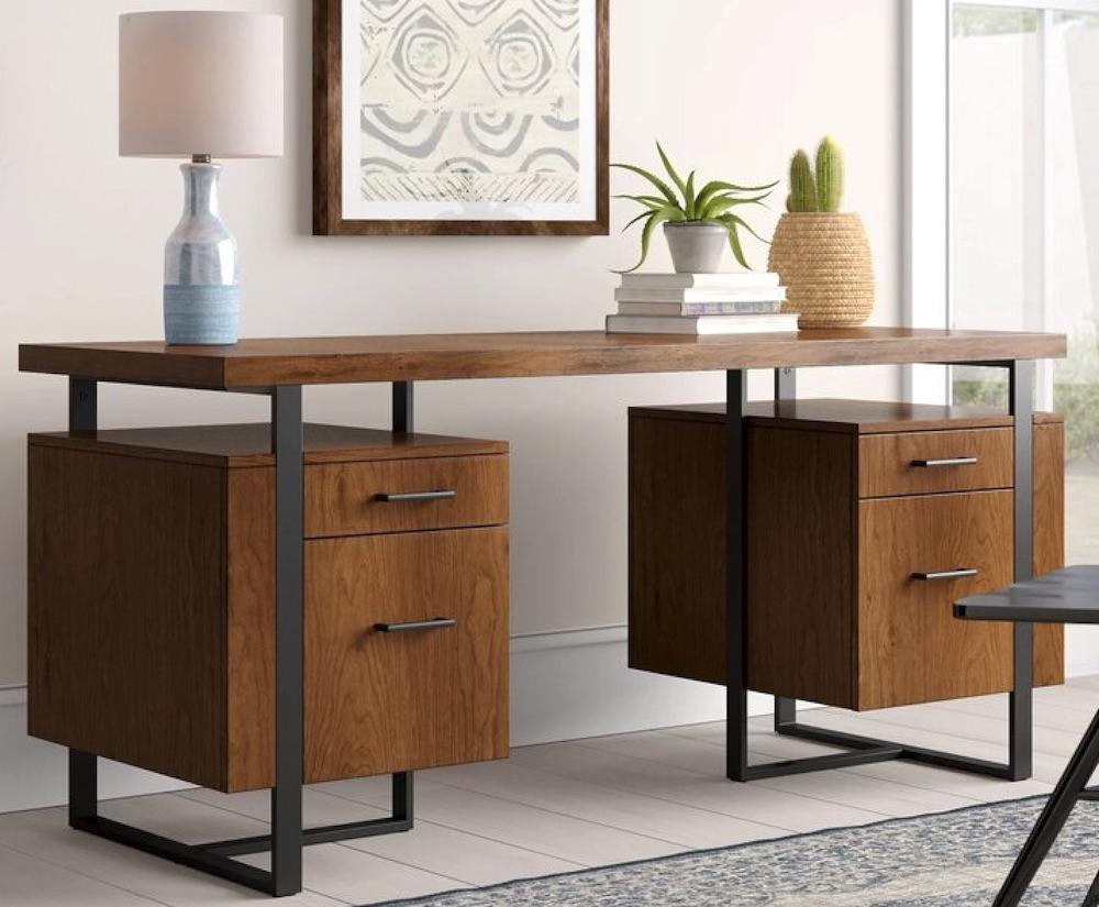 Desks for Industrial and Country Decors Alana Elizabethtown Double Pedestal Desk #Desks #HomeOffice #HomeOfficeDesks #Farmhouse #Decor #VintageDecor #FarmhouseDecor #IndustrialDecor #WorkingMoms #WorkFromHome