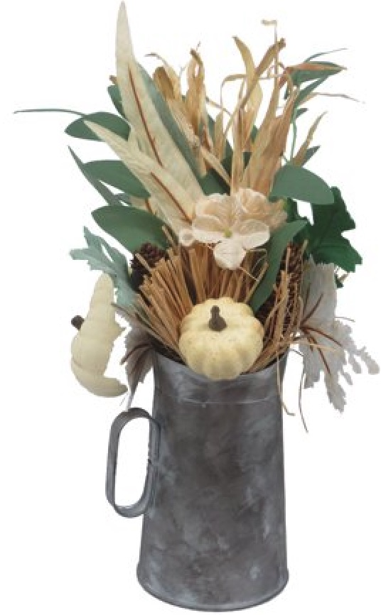 Decorations for a Festive Home Creme Pumpkin in Tin Pitcher Thanksgiving Arrangement #Decor #ThanksgivingDecor #AffordableDecor #AffordableFallDecor #CheapThanksgivingDecor #QuickAndEasyDecor #BudgetFriendlyDecor