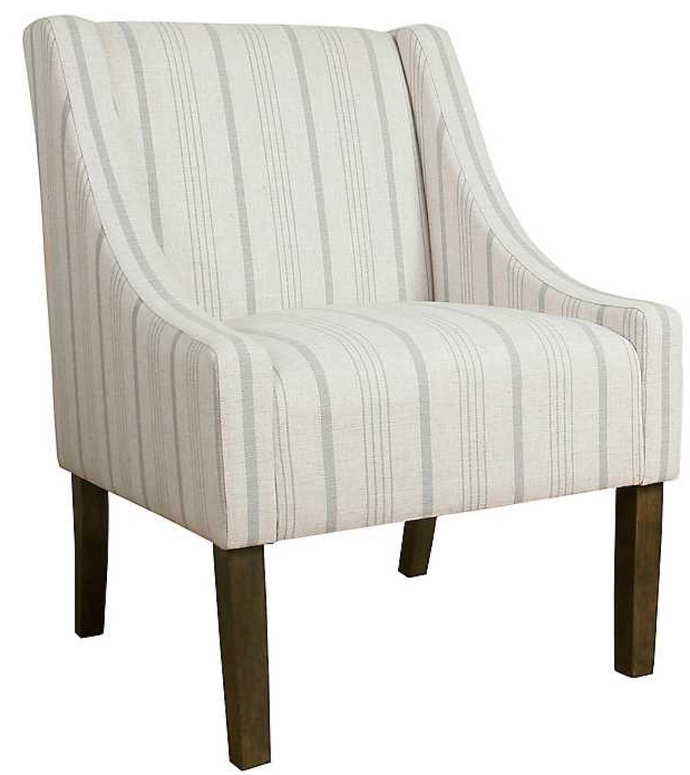 Chairs for Neutral Decors Dove Gray Stripe Swoop Accent Chair #Chairs #AccentChairs #Decor #VintageDecor #FarmhouseDecor #NeutralDecor #Furniture