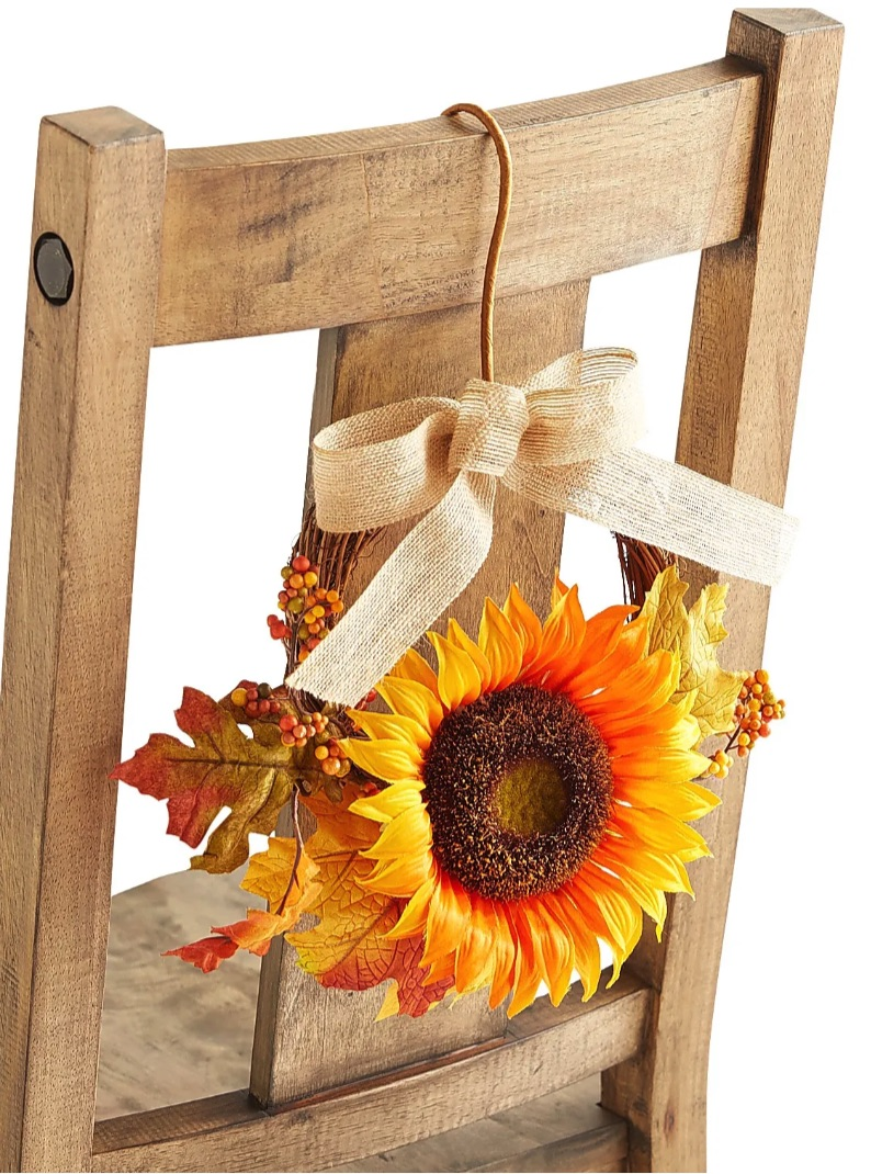Thanksgiving Decorations for a Festive Home! Faux Sunflower Hanging Chair Decor #Decor #ThanksgivingDecor #AffordableDecor #AffordableFallDecor #CheapThanksgivingDecor #QuickAndEasyDecor #BudgetFriendlyDecor