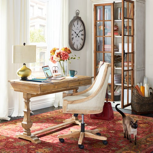 Chairs for Your Workspace Flax Desk Chair with Stonewash Wood #DeskChairs #HomeOffice #HomeOfficeDeskChairs #OfficeChairs #Decor #FarmhouseDecor #WorkingMoms #WorkFromHome