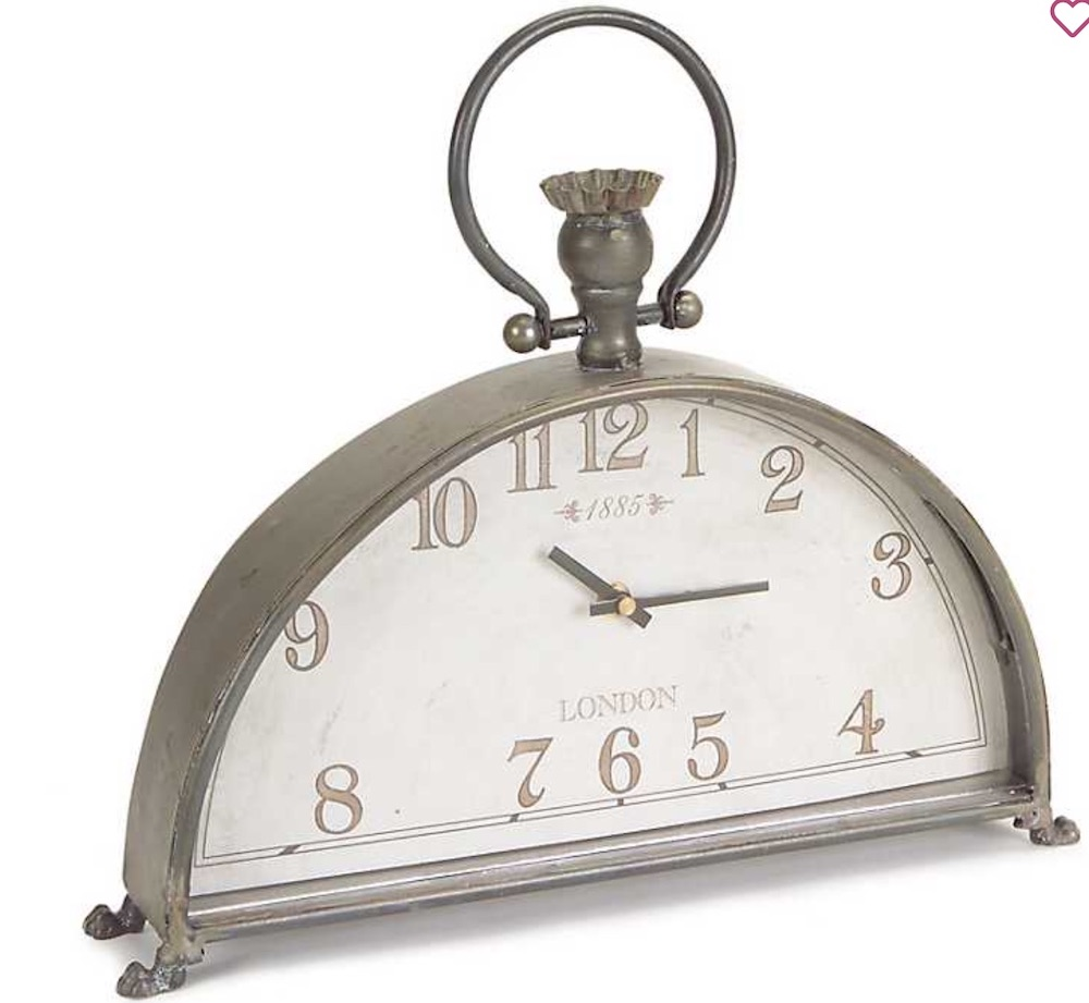 Clocks with Vintage Style Half Moon Antique Silver Glass Mantle Clock #Clocks #MantleClocks #Timepiece #TableTopDecor #Decor