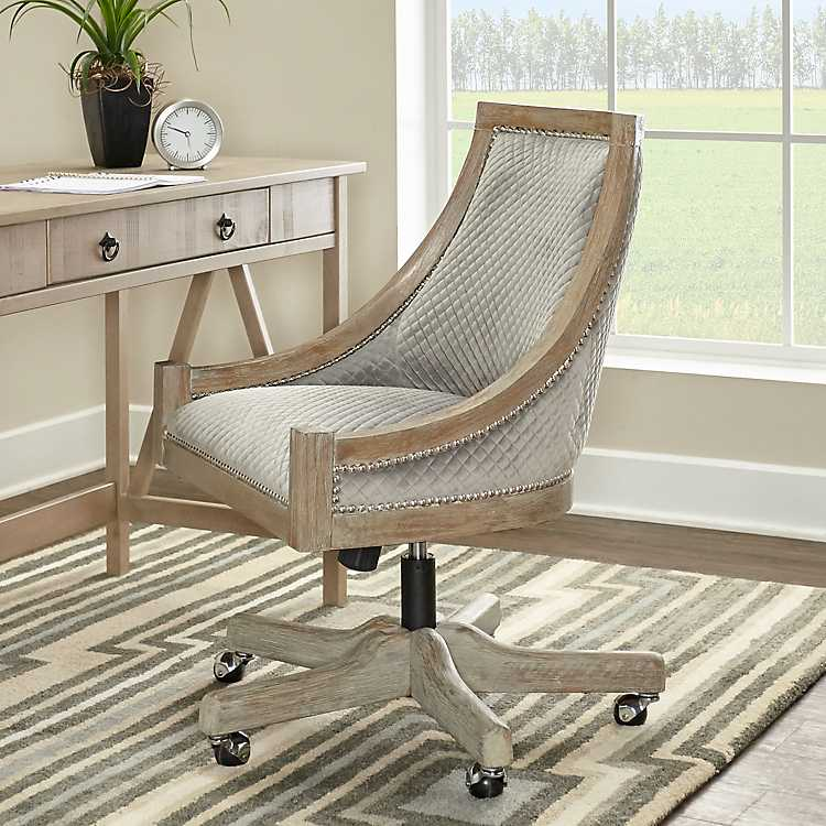 Chairs for Your Workspace Hannah Gray Quilted Office Chair #DeskChairs #HomeOffice #HomeOfficeDeskChairs #OfficeChairs #Decor #FarmhouseDecor #WorkingMoms #WorkFromHome