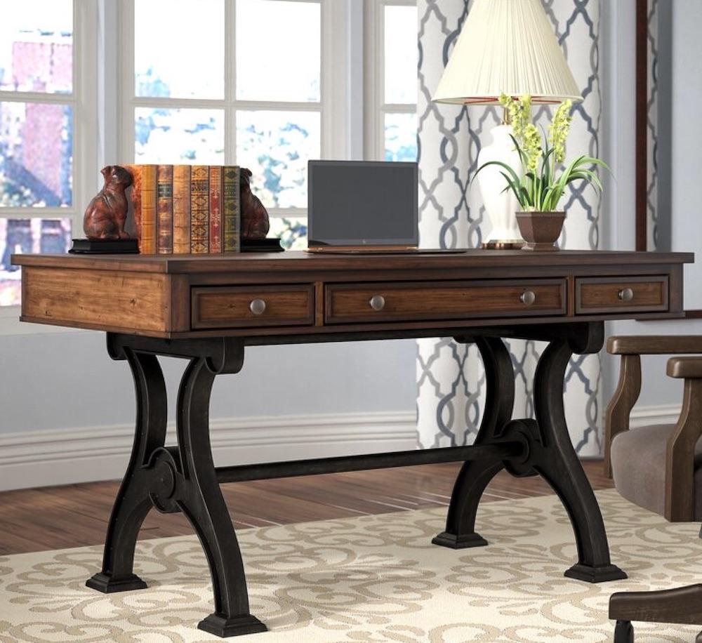 Desks for Industrial and Country Decors Hartford 3 Drawer Desk #Desks #HomeOffice #HomeOfficeDesks #Farmhouse #Decor #VintageDecor #FarmhouseDecor #IndustrialDecor #WorkingMoms #WorkFromHome