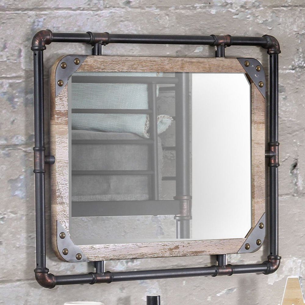 Mirrors with Rustic, Farmhouse Style Industrial Decorative Wall Mirror #DecorativeMirrors #Mirrors #AccentMirrors #Decor #VintageDecor #FarmhouseDecor #RusticDecor