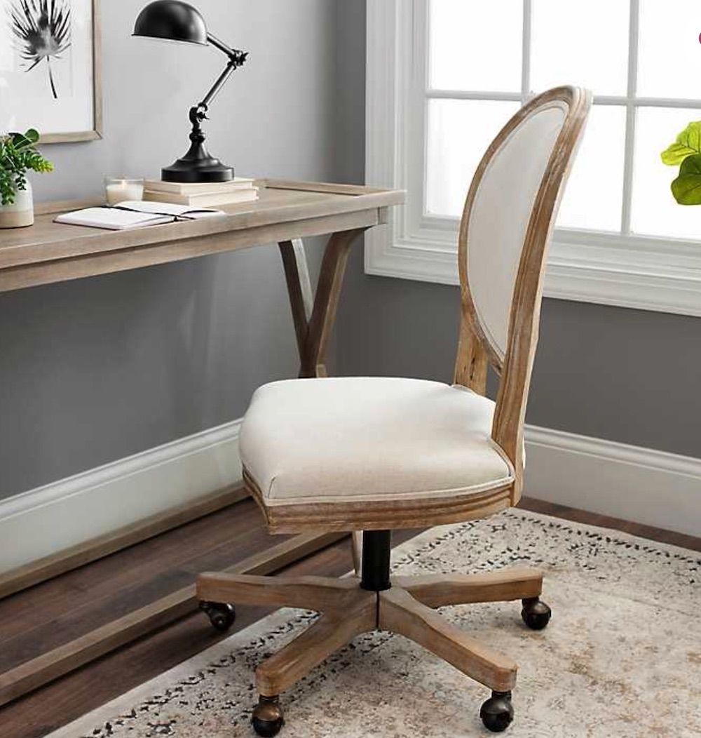 Office Chairs for Your Workspace Ivory Louis Rolling Chair #DeskChairs #HomeOffice #HomeOfficeDeskChairs #OfficeChairs #Decor #FarmhouseDecor #WorkingMoms #WorkFromHome