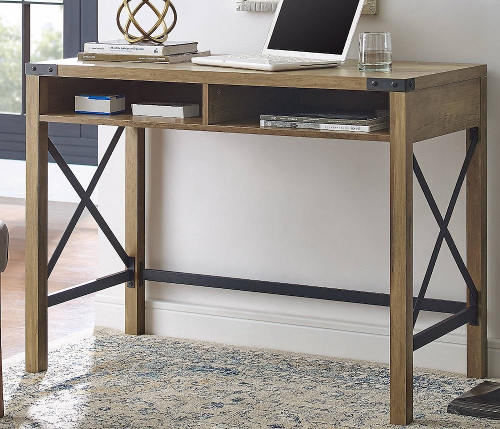 Desks for Industrial and Country Decors Rustic Oak X-Frame Computer Desk #Desks #HomeOffice #HomeOfficeDesks #Farmhouse #Decor #VintageDecor #FarmhouseDecor #IndustrialDecor #WorkingMoms #WorkFromHome