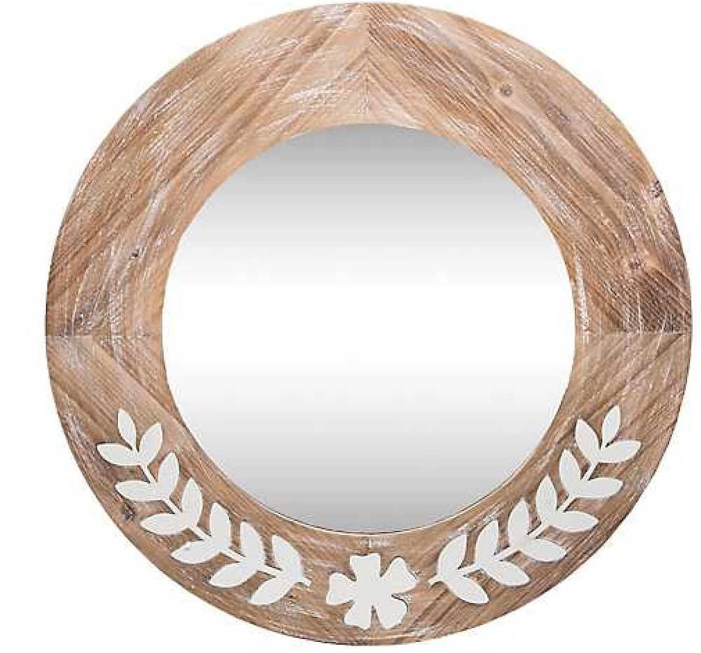 Mirrors with Rustic, Farmhouse Style Rustic Wood And Metal Flower Mirror #DecorativeMirrors #Mirrors #AccentMirrors #Decor #VintageDecor #FarmhouseDecor #RusticDecor